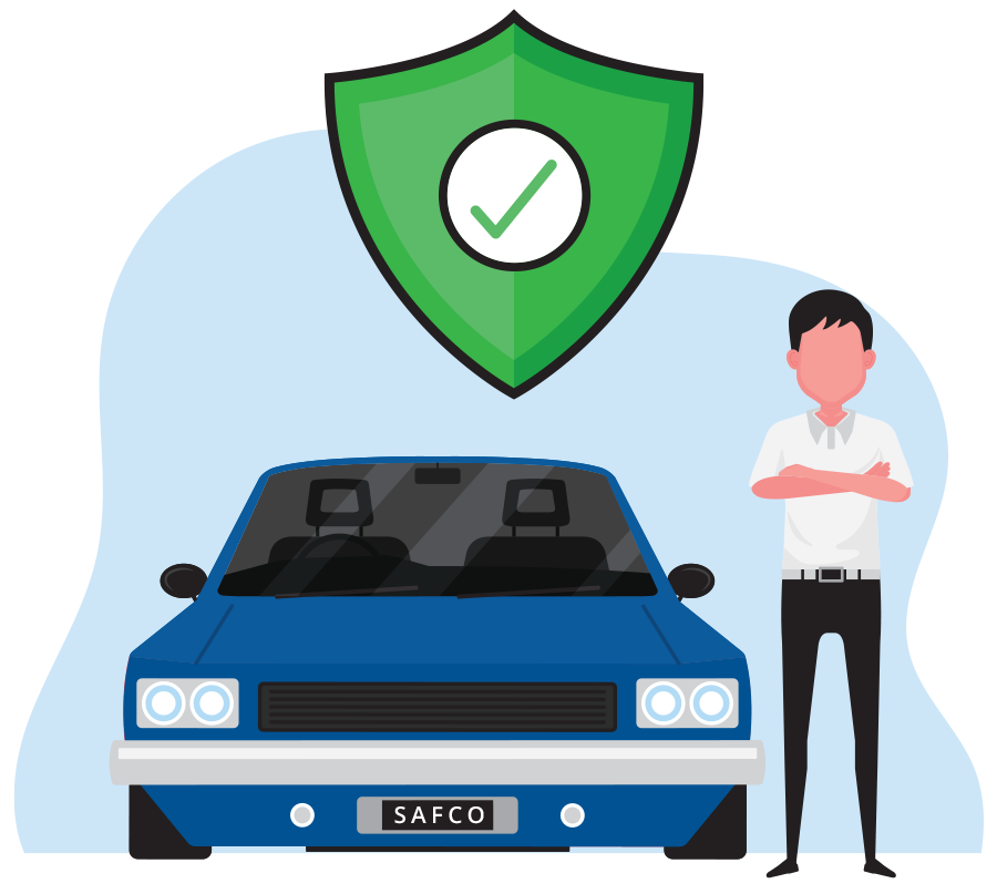 Cartoon graphic of a blue sedan with a man with his arms folded standing next to it. Above is a green shield with a green check mark
