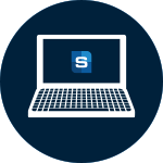 Icon of a laptop with the Safco logo on the screen