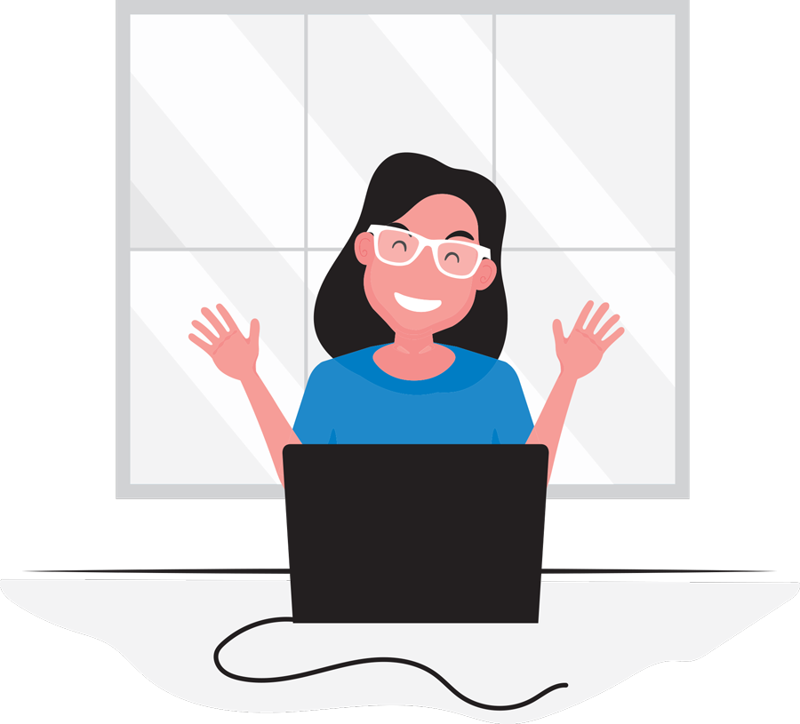 Cartoon graphic of a smiling woman with her hands raised behind a laptop